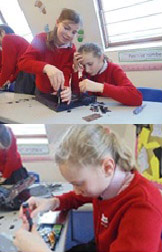 Children at Moorfield School tackling IT disassembly